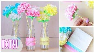 getlinkyoutube.com-Как сделать ЦВЕТЫ ИЗ САЛФЕТОК / DIY: Paper Napkin Flowers / NataliDoma