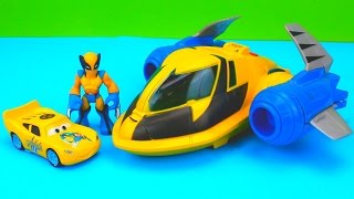 getlinkyoutube.com-Wolverine Car McQueen & Wolverine take down Imaginext Two Face Playskool custom