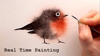 "getlinkyoutube.com-Explained Real Time Watercolor Illustration ""Fuzzy Bird"" Painting by Iraville"