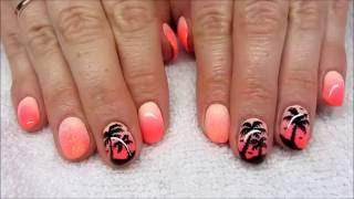 getlinkyoutube.com-Summer nails - Ombre palm three nails - Wakacyjne neonowe paznokcie z palmą