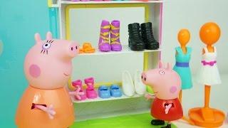 getlinkyoutube.com-Peppa Pig Comprando Sapatos Novos!! Em Português Completo DisneyKidsToys