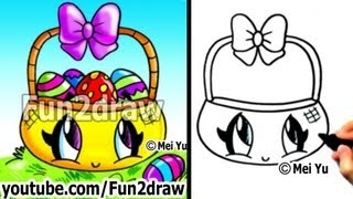 Easy Things to Draw - How to Draw Kawaii Stuff - Easter Eggs in Basket - Art Lessons - Fun2draw