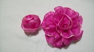 getlinkyoutube.com-81.- Como hacer un boton de rosa doble en cintas , Iztac Madrigal