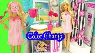 getlinkyoutube.com-Barbie Spa To Fab with Color Changing Makeup Mask & Nail Polish - Cookieswirlc Video