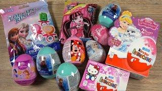 getlinkyoutube.com-Elsa FROZEN Barbie Monster High Minnie Mouse Princess Hello Kitty Easter Surprise Eggs