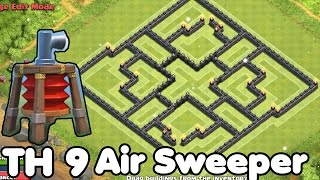 getlinkyoutube.com-Clash of Clans TH9 HYBRID BASE With Air SWEEPER Best Town Hall 9 DEFENSE