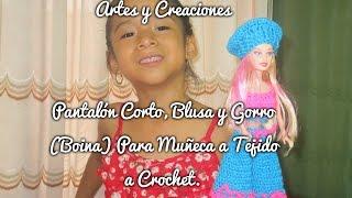 getlinkyoutube.com-PANTALON, BLUSA Y GORRO (BOINA) PARA MUÑECA A CROCHET