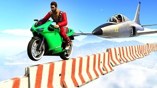 getlinkyoutube.com-IMPOSSIBLE BIKERS vs. PLANES! (GTA 5 Funny Moments)