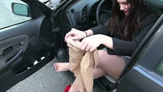 """Pedal Vamp - Miss Iris stockings used in """"Miss Iris blowing the BMW"""" FOR SALE ON EBAY !!"""