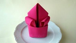 Servietten falten Lilie - Tischdeko z.B. für Hochzeit & Geburtstag