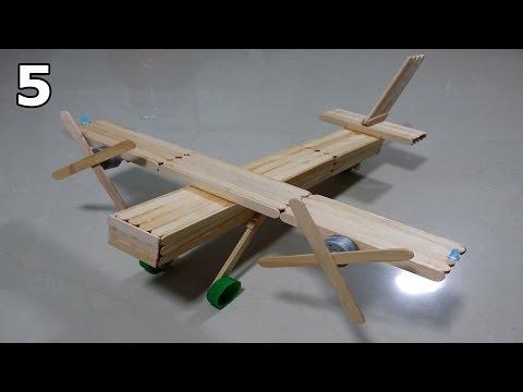 Como fazer um avião bimotor de palitos de picolé - Parte 5