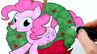 getlinkyoutube.com-My Little Pony Pinkie Pie CHRISTMAS Speed Coloring Book Page with Markers
