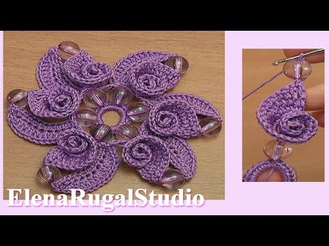 Crochet Flower With Spiral Petals Tutorial 120 Demo