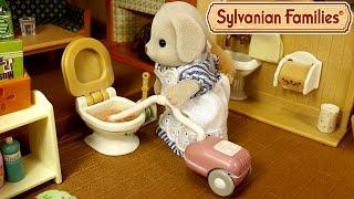 getlinkyoutube.com-Что делать если засорился унитаз?! Мультяшный обзор набора Sylvanian Families для уборки дома