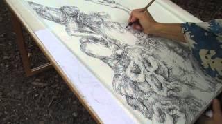 "getlinkyoutube.com-""Jinn of a Tea Kettle"" drawing pen and ink,artist Anna Plavinskaya"