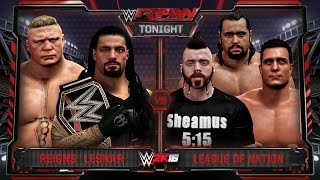 WWE RAW 1/18/16 - Roman Reigns & Brock Lesnar vs League Of Nation Tag Team Match - WWE RAW 2K16