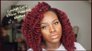 getlinkyoutube.com-Crochet Braids Curls || African Threading Method || TAI LO