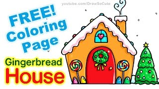 getlinkyoutube.com-How to Draw a Gingerbread House step by step Easy