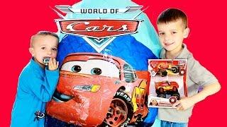 getlinkyoutube.com-Super Giant Surprise Egg Opening More Disney Car Toys Kinder Surprise Video For Kids