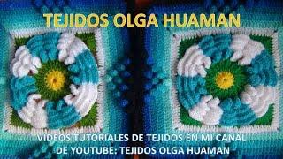 getlinkyoutube.com-flor de dos colores tejido a crochet para colcha paso a paso video 4
