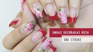 getlinkyoutube.com-Unhas Decoradas Rosa One Stroke