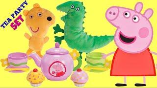 getlinkyoutube.com-PEPPA PIG TEA Party Play Set, George, Disney Frozen Princess Elsa, Anna Play-doh Toy Surprise / TUYC