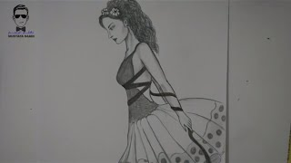 getlinkyoutube.com-تعلم رسم وجه جانبي للفتاة مع فستان مميز