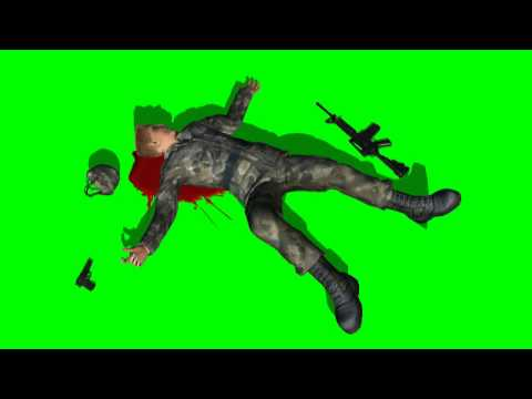 blood splatter dead soldier - green screen effects