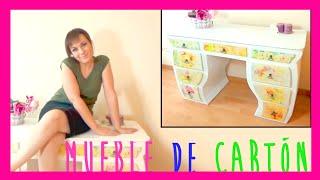 getlinkyoutube.com-Increible mueble hecho totalmente con cartón, escritorio o tocador DIY reciclado