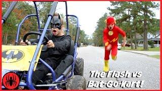 getlinkyoutube.com-The Flash vs Batman GO KART BATTLE Race Car Edition superhero real life movie comic SuperHero Kids