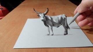 getlinkyoutube.com-How I Draw 3D Grey Cattle, Art Drawing