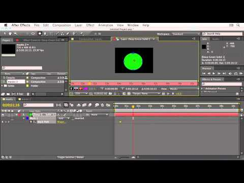 Adobe After Effects CS5: WORKING WITH MASKS: Animating Masks