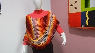 getlinkyoutube.com-Capa poncho chal #Ganchillo #Crochet Easy Cape shawl Blouse lay out #DIY