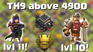 TH9 TITAN above 4900 cups with low level heroes! lv11 Queen lv10 King | Qunatum´s 8.9