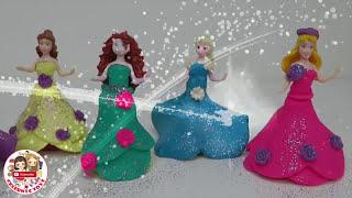 getlinkyoutube.com-Play Doh MAGICLIP Glitter DIY Sparkle Disney Princess Clay Dress Elsa Aurora Belle