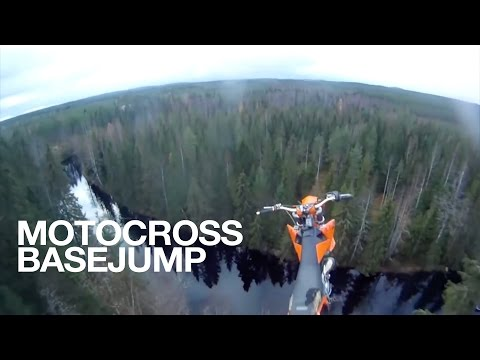 StuntFreaksTeam   Antti Pendikainen Motocross Base Jump from 40m