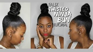 getlinkyoutube.com-Faux Twisted Ninja Bun Tutorial | Highly Requested