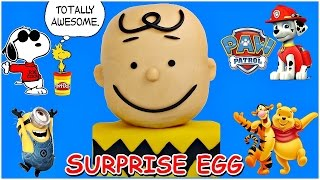 getlinkyoutube.com-GIANT Charlie Brown Play Doh Surprise Egg and Peanuts Collector's Figure Set