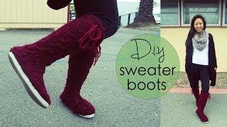 getlinkyoutube.com-DIY Sweater Boots
