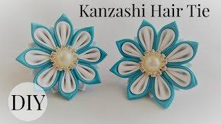 getlinkyoutube.com-Kanzashi ponytail holder tutorial. DIY kanzashi flower.
