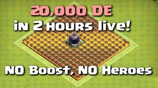 getlinkyoutube.com-Clash of Clans - 20,000 DE in 2 Hours Live NO BOOST NO HEROES (Best Strategy)
