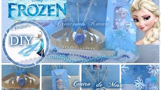 getlinkyoutube.com-DIY Fiesta de Frozen (Bolsita o Dulcero,Centro de mesa,Guirnaldas,Corona)/ Birthday Party Ideas