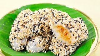 getlinkyoutube.com-ขนมแดกงา (ขนมไทย) Sesame Flour Dumpling Stuffed with Shredded Coconut