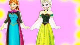 getlinkyoutube.com-Frozen Disney Princess Dress Up Elsa, Anna, Ariel & Cinderella Wooden Magnetic Doll Muñeca de madera