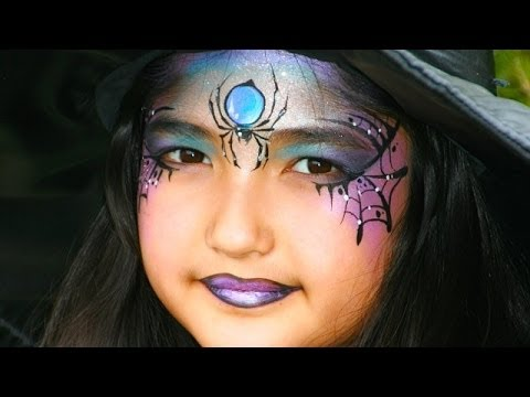 Eine hübsche Hexe schminken / Hexengesicht Kinderschminken Vorlage für Halloween