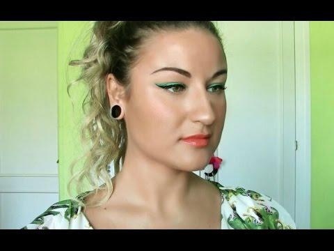 TUTORIAL:Doble eyeliner verde&negro y labios coral/naranja.Colores cálidosPERFECTOS PARA EL VERANO