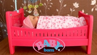 getlinkyoutube.com-Baby Born Bed - Baby Doll like Real Drinks and Wet Cries Real Tears Diaper change and Go to  Sleep