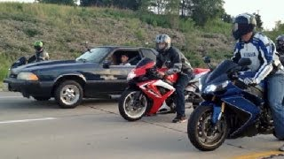 BEATER BOMB 5.3L 500hp Fox vs R1 vs ZX10R vs GSXR600 & More