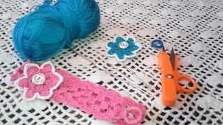 getlinkyoutube.com-طريقة عمل سورتيت طوق شعر بالكروشيه موصول بالمطاط how to crochet a headband all sizes