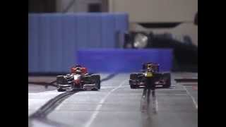getlinkyoutube.com-Carrera Digital 132 - Formel 1 Vettel vs. Hamilton - Red Bull vs. McLaren - slotcar - onboard cam